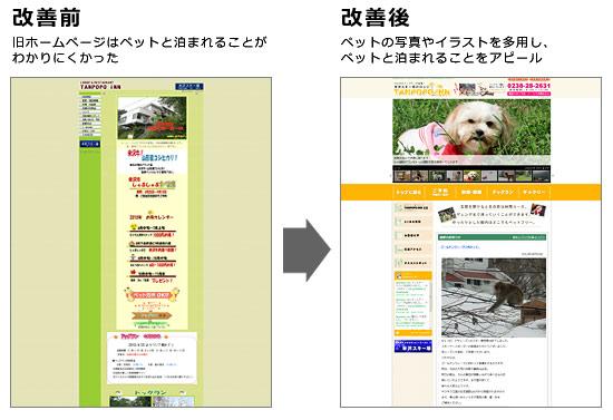 ホームページの前後比較